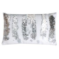 Thro by Marlo Lorenz Melody Mermaid Reversible Sequin 12-Inch x 20-Inch Pillow in White Silver