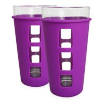 EcoVessel® THE VIBE™ 2-Pack 16 oz. Pint Glass with Protective Silicone Sleeve in Purple