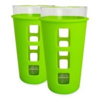 EcoVessel® THE VIBE™ 2-Pack 16 oz. Pint Glass with Protective Silicone Sleeve in Green