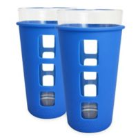 EcoVessel® THE VIBE™ 2-Pack 16 oz. Pint Glass with Protective Silicone Sleeve in Blue