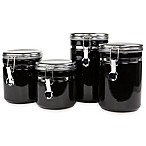 4-Piece Ceramic Canister Set with Stainless Steel Tops in Black