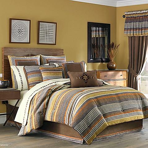 J Queen New York Montaneros Comforter Set In Rust Bed