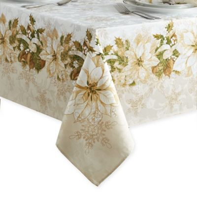 White Poinsettia 60 Inch X 84 Inch Oblong Tablecloth