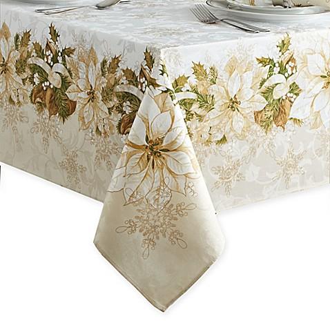 White Poinsettia Tablecloth Bed Bath Amp Beyond