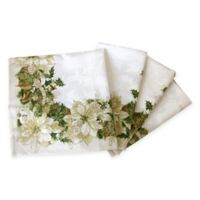 White Poinsettia Holiday Napkins (Set of 4)