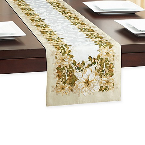 White Poinsettia Table Runner Bed Bath Amp Beyond