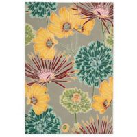 Nourison Fantasy Flower 1-Foot 9-Inch x 2-Foot 9-Inch Accent Rug in Grey