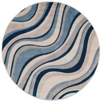 Nourison Somerset ST81 5-Foot 6-Inch Square Area Rug in Ivory and Blue