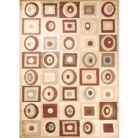 Soho Round and Squares 6-Foot 7-Inch x 9-Foot 6-Inch Area Rug in Tan