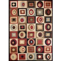 Soho Round and Squares 6-Foot 7-Inch x 9-Foot 6-Inch Area Rug in Black