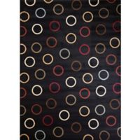 Soho Circles 6-Foot 7-Inch x 9-Foot 6-Inch Area Rug in Black