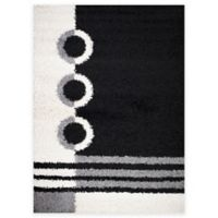 Shaggy Rings 3-Foot 3-Inch x 4-Foot 7-Inch Area Rug in Black