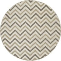 New Casa Chevron 5-Foot 3-Inch Round Area Rug in Ivory