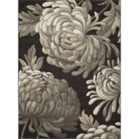 New Casa Flowers 3-Foot 3-Inch x 4-Foot 7-Inch Accent Rug in Brown
