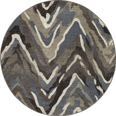 New Casa Waves Area 5 Foot 3 Inch Rug In Blue Brown