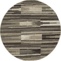 New Casa Patch Stripes 5-Foot 3-Inch Round Area Rug in Grey