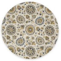 New Casa Suzani 5-Foot 3-Inch Round Area Rug in Ivory