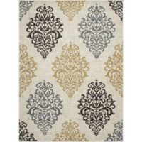 New Casa Damask 3-Foot 3-Inch x 4-Foot 7-Inch Accent Rug in Yellow/Ivory