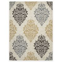 New Casa Damask 5-Foot 3-Inch x 7-Foot 3-Inch Area Rug in Yellow/Ivory