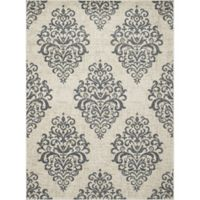 New Casa Damask 6-Foot 7-Inch x 9-Foot 6-Inch Area Rug in Ivory/Blue