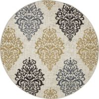 New Casa Damask 5-Foot 3-Inch Round Area Rug in Yellow/Ivory