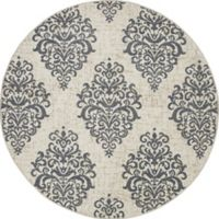 New Casa Damask 7-Foot 10-Inch Round Area Rug in Ivory/Blue