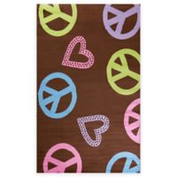 Concord Global Alisa Peace and Polka Hearts 5-Foot x 7-Foot Area Rug in Brown