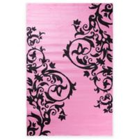 Concord Global Alisa Tattoo Scroll 3-Foot 4-Inch x 5-Foot Accent Rug in Pink