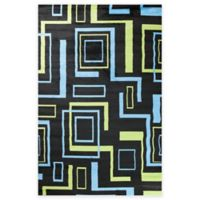 Concord Global Alisa Boxes 2-Foot 7-Inch x 4-Foot 1-Inch Accent Rug in Black
