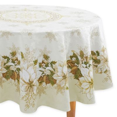 Elegant White Poinsettia 70 Inch Round Tablecloth