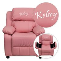 Flash Furniture Personalized Kids Recliner in Pink Vinyl