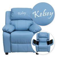 Flash Furniture Personalized Kids Recliner in Light Blue Vinyl