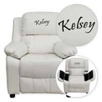 Flash Furniture Personalized Kids Recliner in White Vinyl