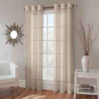 Crushed Voile 144-Inch Grommet Top Sheer Window Curtain Panel in Linen