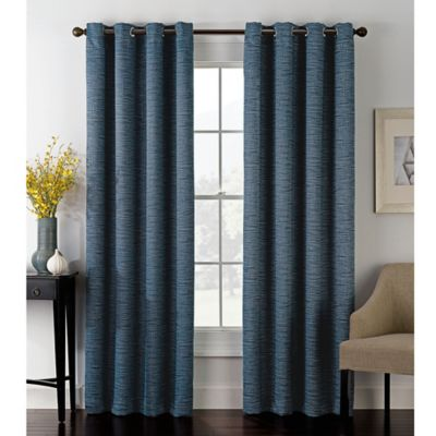 Foray 95 Inch Grommet Top Room Darkening Window Curtain Panel In Navy