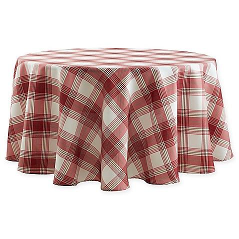 Basics Tuscan Plaid 70 Inch Round Tablecloth Bed Bath
