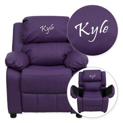 Flash Furniture Personalized Kids Recliner In Purple Vinyl