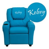 Flash Furniture Personalized Kids Recliner in Turquoise