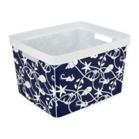 The Macbeth Collection Large Maritime Print Storage Tote in Blue