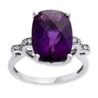 Sterling Silver Oval Amethyst and White Sapphire Accented Size 7 Ladies' Estate Ring