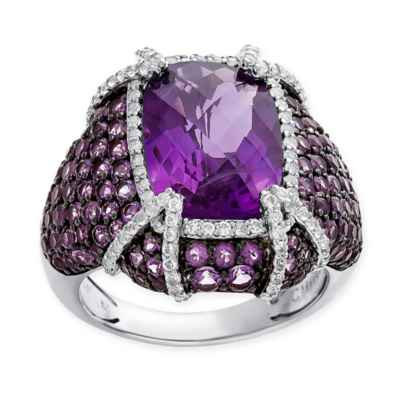 Sterling Silver Cushion-Cut Amethyst and White Topaz Accented Ladies' Pave Statement Ring