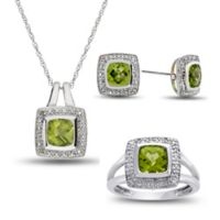 Sterling Silver Peridot and Created White Sapphire Size 7 Halo Ring, Necklace, and Stud Earring Set