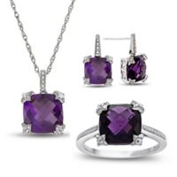 Sterling Silver Created-Amethyst and Created-White Sapphire Size 6 Ring, Necklace, and Earring Set