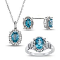 Sterling Silver Oval Blue Topaz and Created-White Sapphire Size 6 Ring, Necklace, and Earring Set