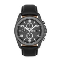Relic® Daley Men's Multifunction Watch in Gunmetal Stainless Steel with Black Leather Strap