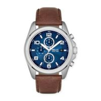 Relic® Daley Men's Multifunction Watch in Stainless Steel with Brown Leather Strap