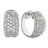 Sterling Silver 3.30 cttw Created-White Sapphire Pave Huggie Hoop Earrings