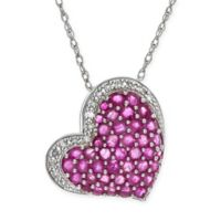 Sterling Silver 2.22 cttw Diamond and Ruby 18-Inch Chain Hanging Heart Pendant Necklace