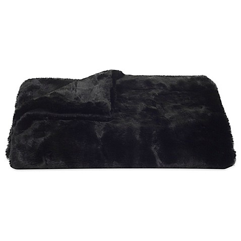 Safavieh Faux Black Mink Throw Blanket In Onyx Bed Bath