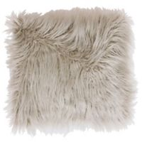 Thro Keller Faux Mongolian 16-Inch Square Throw Pillow in Oatmeal